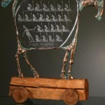 Trojan Horse. Engraved glass and metal sculpture by Czech glass artist Dalibor Nesnidal