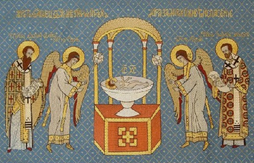 Blue liturgical covering, Ubrus Gold embroidery