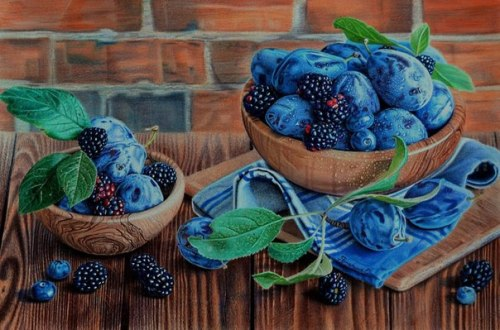 Blueberry still life pencil drawing