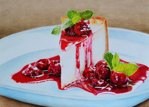 Cherry cake, still life pencil drawing