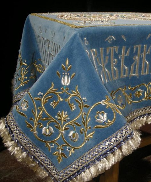 Fragment of Godmother shroud for the church of Alexander Nevsky. Ubrus Gold embroidery