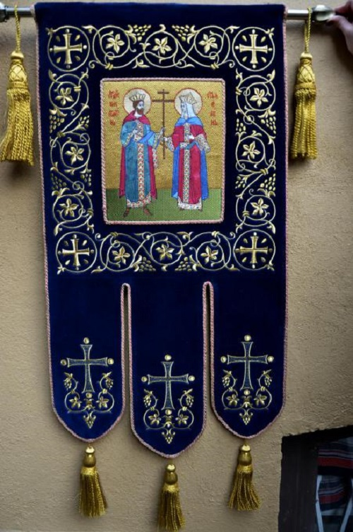 Khorugv (Banner) for the Znamensky monastery, Gold embroidery. 2013