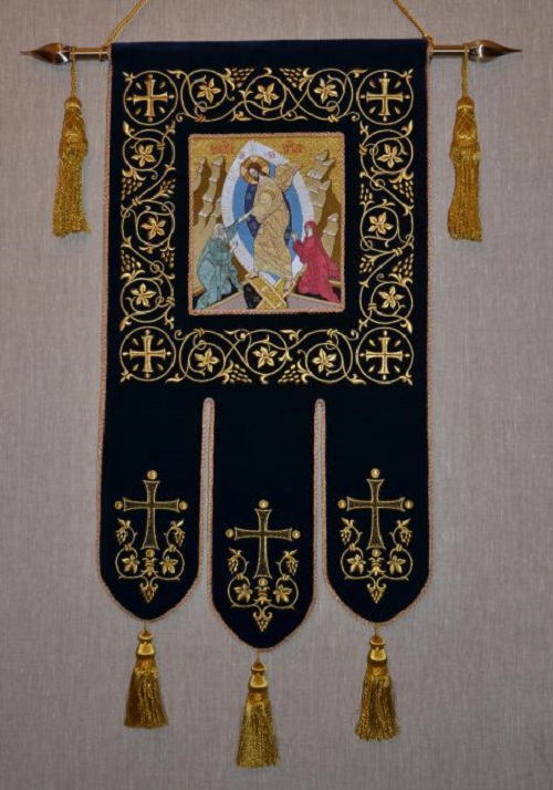 Ubrus Gold embroidery. Khorugv (Banner) for the Znamensky monastery, Diveevo. 2013