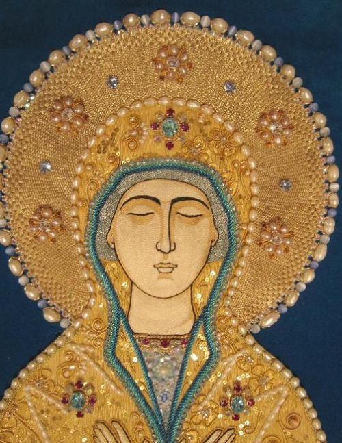 Icon Our Godmother Shroud (Valaam), detail