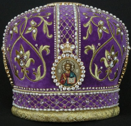 Traditional Orthodox mitre (head-dress), Gold embroidery by Ubrus workshop