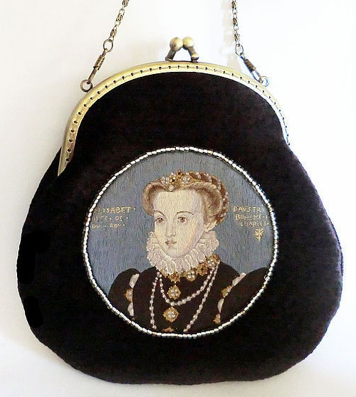 Elegant and stylish Velvet bag with a clasp on a chain decorated with an embroidered portrait of Queen Elizabeth by Jean Clouet