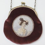 Handbag of vintage velvet with a clasp on a chain decorated with handmade embroidery - female portrait of Russian beauty of Pushkin's time
