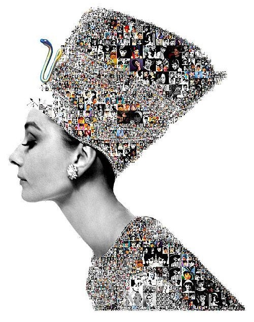 Photomosaic 'Eternal Beauty'. Nefertiti and Audrey Hepburn