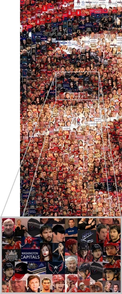 Photomosaic 'Hockey player Ovechkin' detail