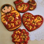 Painted in the style of traditional Russian crafts – Gzhel, Khokhloma, Dymkovo toy, Vologda lace