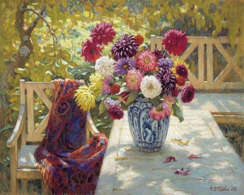 Autumn. Flowers in the garden. Canvas, oil. Artist Oleg Shtyhno