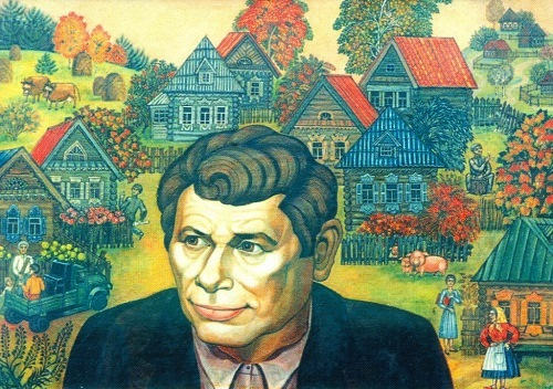 'Born in Kuzedeyevo'. Kemerovo writer Vladimir Kuropatov. 1987. Tempera on canvas