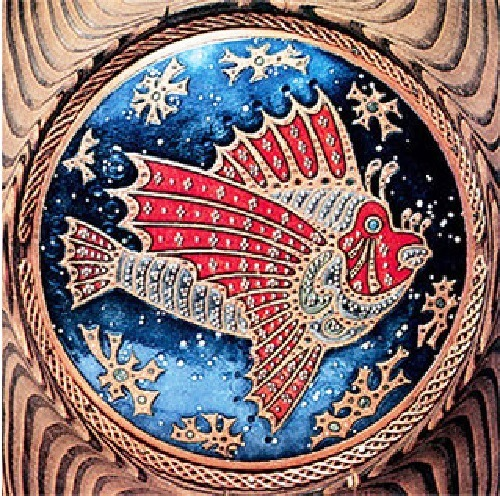 Fish. Cloisonne enamel, copper, engraving. 1990s