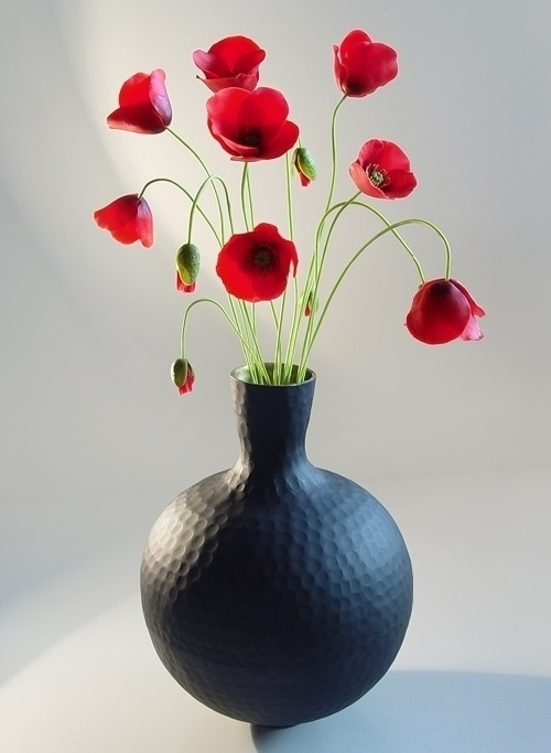 Poppies. Flowers made of polymer clay
