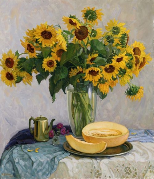 Still life. Sunflowers and melon