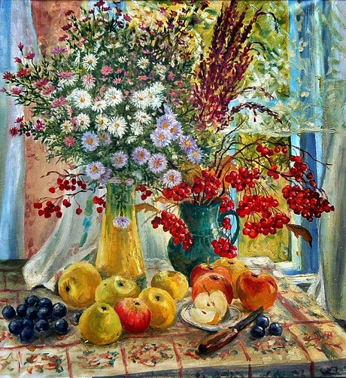 Apples, wildflowers and rowan still life