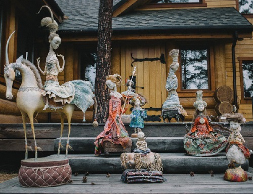 Sculptural composition of exhibited dolls. 'Ulger' art exhibition of dolls in Irkuts, Siberia, Russia