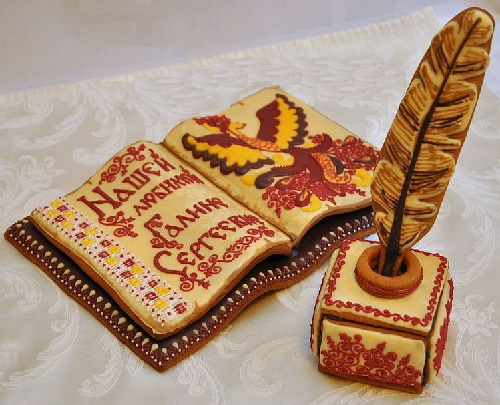 Vintage book, made of tasty and fragrant gingerbread, a gift to the teacher of Russian Language and Literature from her graduates
