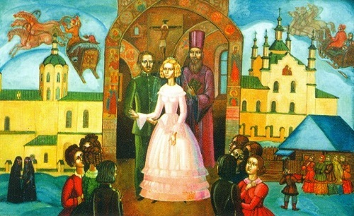 Wedding of FM Dostoevsky and MD Isayeva in Kuznetsk. 1991. Tempera on canvas