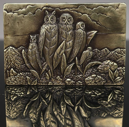 Leaves - owls. Inspired by Rene Margritte