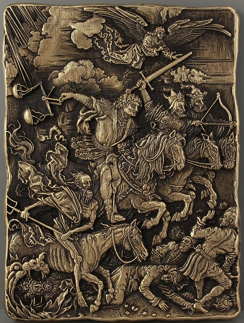 The Four Horsemen of the Apocalypse, described in the Book of Revelation of Jesus Christ to John the Apostle