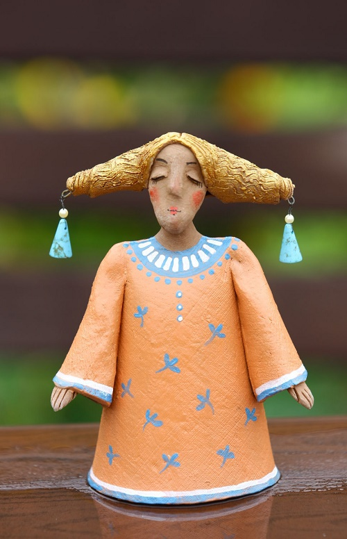 Bell 'Autumn time' (clay sculpture, handmade)