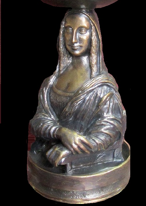 Bronze stand 'Mona Lisa' for a crystal candy bowl. Pavel Zaitsev miniature bronze sculpture