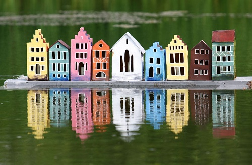 City on the water (decoration for a pond, garden sculpture made of clay, handmade)