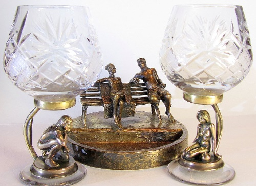 Date. Bronze Ash-tray and two wine glasses on bronze stands