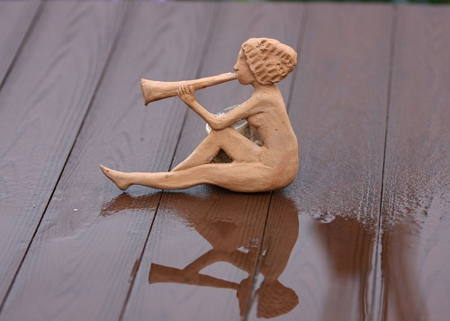 Handmade clay figurine 'Call'