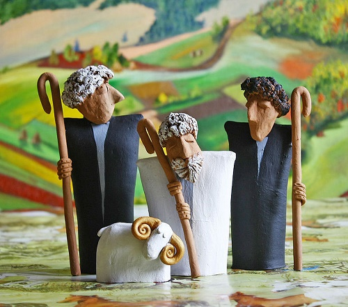 High in the mountains the air is cleaner, and they are so proud, honest shepherds .. Clay, hand made, the background - painting by Irina Tyulneva