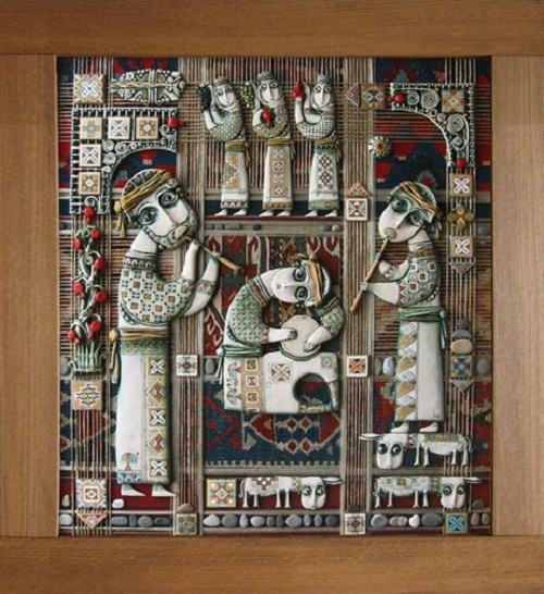 We are the one - clay, mixed media & handmade carpet on wood. Tsolak Shaginyan spiritual ceramic art