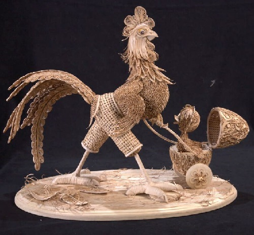 A proud cockerel father with a chicken. Vera Leontieva birchbark filigree art