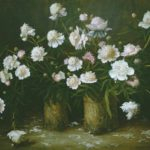 """Oil on canvas painting """"Peonies"""", 1992"""