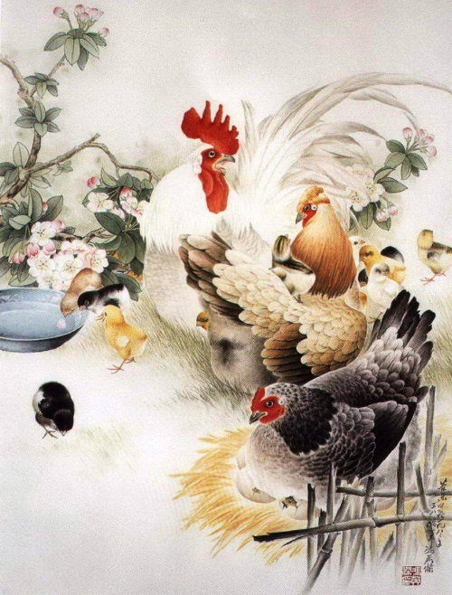 The symbol of new Year - Rooster in Chinese painting