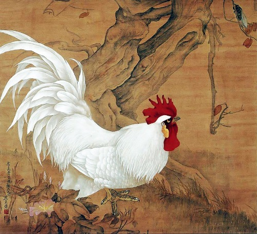 White cock protects against spirits. Symbolic Rooster Chinese painting