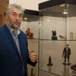 Anatoly Zhukov at the exhibition of his works