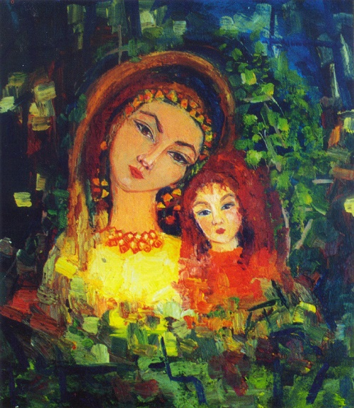 Shor Madonna. 1995. Oil on canvas. Colorful painting by Shor artist Lyubov Arbachakova
