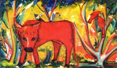 Year of the Red Bull. Oil on cardboard. 1997