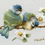 A couple of birds on a branch, 3D embroidery