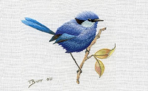 Blue bird miniature needle painting