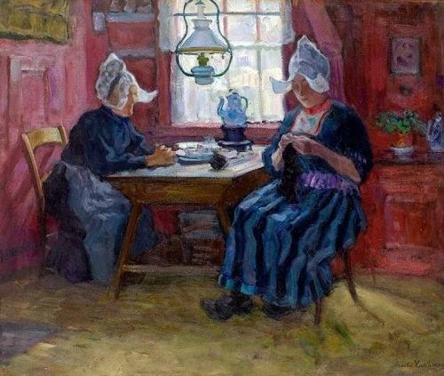 Interior with British women knitting