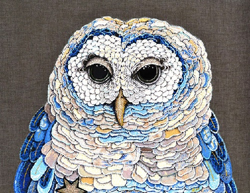 Colorful Owl, each feather hand stitched. Zara Merrick exquisite textile art