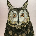 One-of-a-kind textile art, owl
