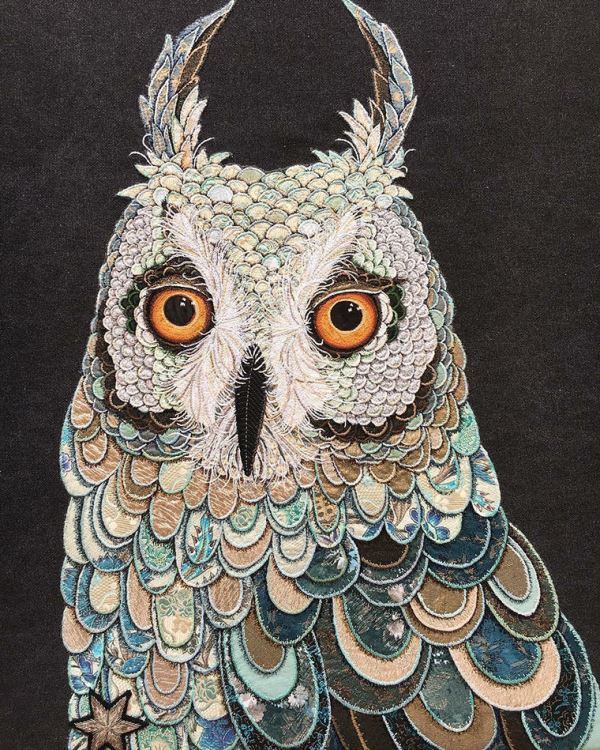 Owl, beautiful textile art
