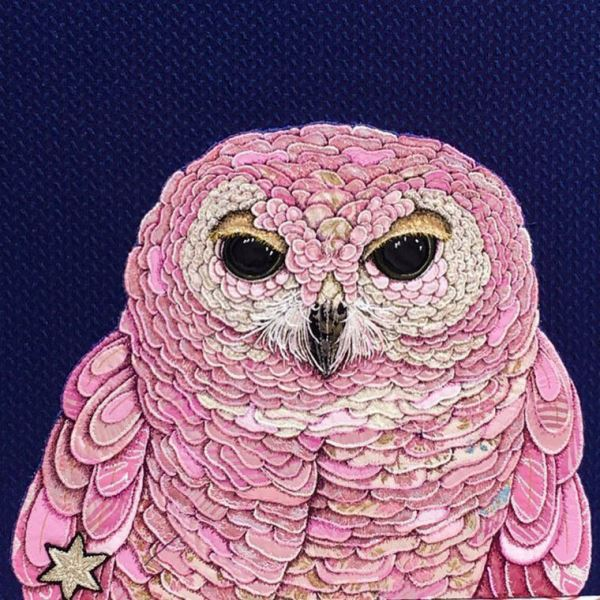 Pink and gold owl