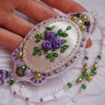 A gentle lilac sotuar with a brush. Embroidery on silk satin ribbons and floss. Czech and Japanese beads, bugles, sequins, pearls and crystal beads