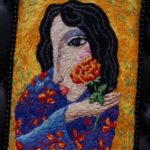 A girl with a red flower. On painting by Setgey Smirnov. Hand embroidery