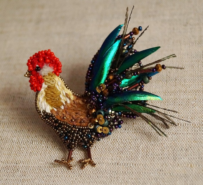Bright stylish cockerel brooch. Embroidered with Japanese and Czech beads, bugles, crystal beads, mulina, and paillettes