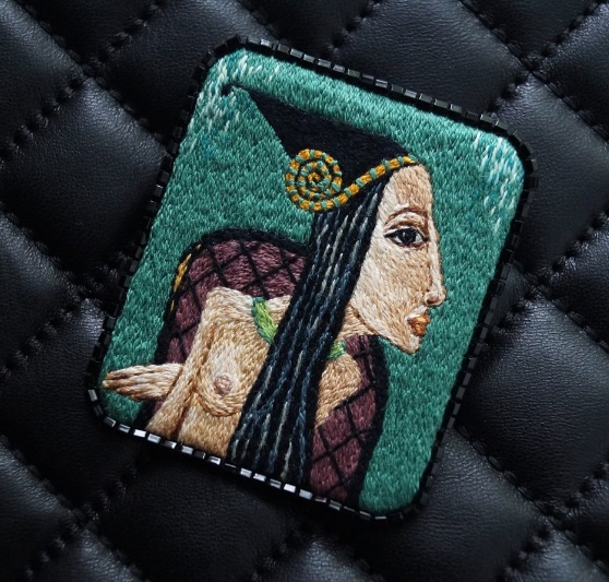 Ancient beauty. Brooch embroidered on the motives of the painting by the artist Sergei Smirnov